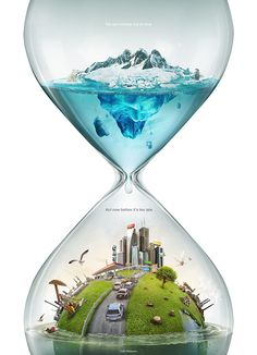 This pin shows how our atmosphere is melting the polar ice caps. It looks like once they melt, water will take over our lives. I like hour time is incorporated into the picture, saying that we are running out of time slowly but surely.