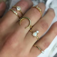 Dainty Opal Rings, Stackable Gold Rongs, Opal Gold Rings, Stackable Opal Rings