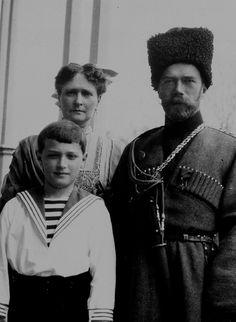 Emperor Nicholas II, Empress Alexandra Feodorovna and their son Tsesarevich Alexei Nikolaevich.