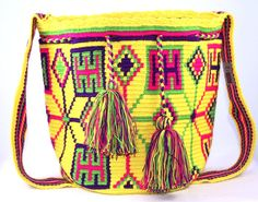 BEAUTIFUL MULTICOLORED LARGE MY ORIGEN BY NATIVO WAYUU MOCHILA WITH A LOOM MADE STRAP.  THIS ONE OF A KIND PIECE WAS MADE IN COTTON IN DIFFERENT