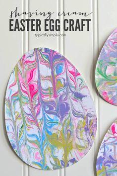 Shaving Cream Painted Egg Craft | anightowlblog.com