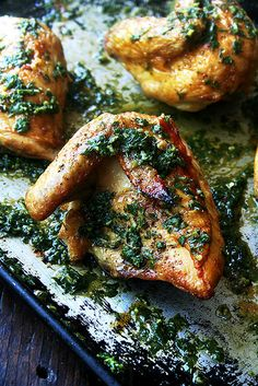 Roasted Chicken with Herb Sauce by alexandracooks: Crisp on the outside, tender and juicy on the inside. #Chicken #Herbs