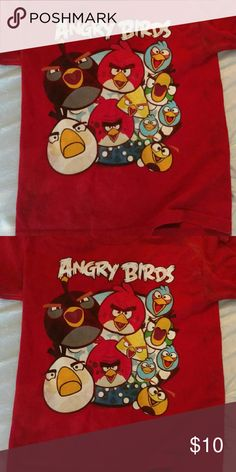 Angry bird tshirt Red t shirt with the angry Bird crew on front rovio entertainment Shirts & Tops Tees - Short Sleeve