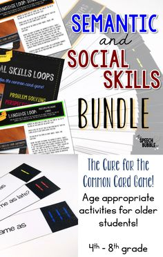 Do you work with older students ( 4th- 8th )?  Looking for something challenging and engaging? Then these Semantic Loops and Social Skills Loops are your answer! They will help you target some of the most common goals for these age levels while engaging students with age appropriate activities