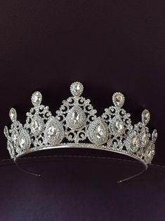 Crystal wedding tiara crystal wedding tiara bridal tiara | Etsy Bridal Hair Vine, Bridal Crown, Bridal Tiara, Bridal Hairpiece, Shoulder Jewelry, Silver Tiara, Wedding Tiaras, Crystal Crown, Crystal Wedding