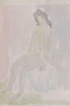 Lauber, Kurt (1893-1971)  Sitzender weiblicher Akt nach links um 1960 / #kunstkauf #kunstverkauf #zeichnung #drawing #worksonpaper #art #kunst