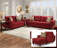 When choosing your new living room furniture, pay special attention to the cushions on sofas, loveseats, sectionals and chairs. Coffee tables and sets of end tables are the conventional way to furnish a living room. Red Couch Living Room, Living Room Furniture, Home Furniture, Modern Furniture, Rustic Furniture, Red Living Room Decor, Red Sofa Decor, Antique Furniture, Furniture Ideas