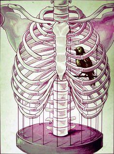 25 Ideas For Bird Skull Drawing Rib Cage Bird Tattoo Ribs, Simple Bird Tattoo, Bird Tattoos, Arte Com Grey's Anatomy, Anatomy Art, Illustrations, Illustration Art, Cage Tattoos, Gothic Art