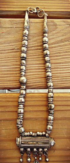 FREE Shipping Yemeni Bedouin Tribal Jewelry - Large Prayer Box Amulet Necklace- ethnic silver beads, tribal bedouin necklace, tribal jewelry