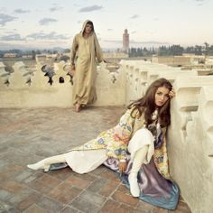 "Talitha Getty, described by Tatler as the 'It Girl of 1965.' When she wasn't modeling in London or working in Yves Saint Laurent's studio, Talitha spent time in Marrakesh with husband John Paul Getty at their palace. It was in Morocco that Talitha's ""gypset"" style was born."