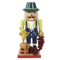 This Kurt Adler 10.25-inch Wooden Winemaker Nutcracker is a beautiful, festive way to add to your holiday decor or nutcracker collection.