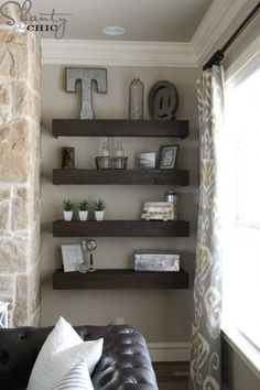 Simple and Creative Tricks: Floating Shelf Brackets Bookshelves floating shelf living room how to build.Floating Shelf Over Couch Pottery Barn ikea floating shelves kitchen.Floating Shelf Over Couch Pottery Barn. Diy Living Room Decor, Living Room Shelves, Shelves In Bedroom, My Living Room, Living Room Furniture, Home Furniture, Diy Home Decor, Wall Shelves, Grey Shelves