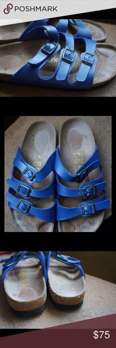 Blue Birkenstock Florida 3 strap sandals size L 8 Awesome pair of blue Birkenstock Florida 3 strap leather sandals size L8 37! Good lightly used condition! Birkenstock Shoes Sandals