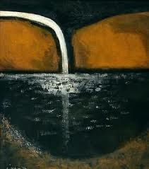 Colin McCahon - The first waterfall Abstract Landscape, Landscape Paintings, Abstract Art, Landscapes, Abstract Paintings, Nz Art, Art For Art Sake, Waterfall Photo, New Zealand Art