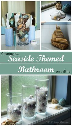 creating a seaside themed bathroom on a dime