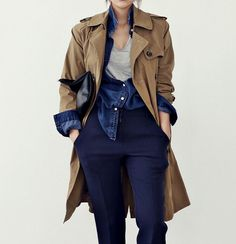When styling your trench consider playing with sleeve lengths to create interest. www.stylestaples.com.au