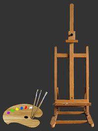 nieuwe grotere schildersezel om al mijn kunstwerken op te maken