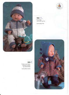Bilde: Baby Born Clothes, Preemie Clothes, Knitting Dolls Clothes, Doll Clothes, Girl Dolls, Baby Dolls, Knit Crochet, Crochet Hats, Bitty Baby