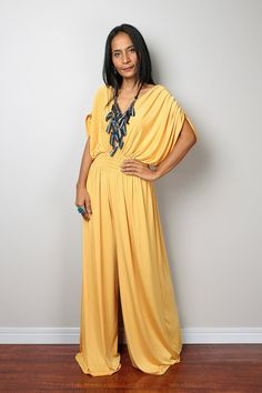 Jumpsuit Yellow Jumpsuit Jumper Maxi Dress with by Nuichan