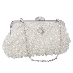 20ca82d24d Chichitop Womens Pearl Bead Rhinestone Evening Clutch Fashion Purse with  Chain