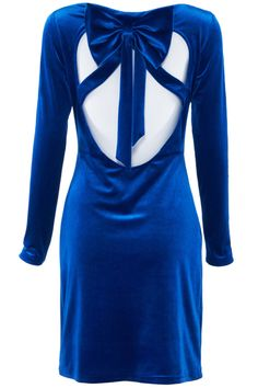 ROMWE | Cutout Back Blue Velvet Dress, The Latest Street Fashion #ROMWEROCOCO