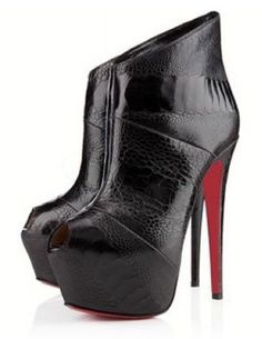 Sexy Black Sheepskin Peep Toe Women's High Heel Ankle Boots