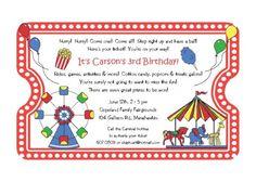 10 cotton candy carnival birthday invitations invite by palm beach polkadots birthdays carnivals and birthday invitations - Carnival Birthday Party Invitations