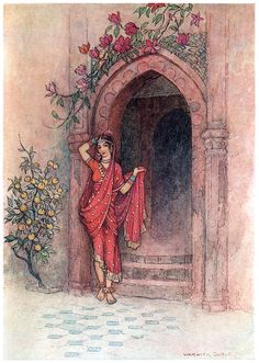 At the door of which stood a lady of exquisite beauty.  Warwick Goble, from Folk-tales of Bengal, by Lal Behari Day, London, 1912.  (Source: archive.org)