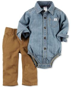 Let ruggedly handsome design bring some laid-back style to his outings with thisl two-piece denim bodysuit and pants set from Carter's. | Bodysuit and pants: cotton | Machine washable | Imported | Bod