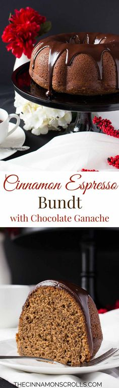 Cinnamon Espresso Bundt with Chocolate Ganache #BundtBakers…
