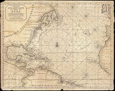 1683 Mortier Map Of North America The West Indies And The Atlantic Ocean Print By Paul Fearn Old Maps, Antique Maps, Vintage Wall Art, Vintage World Maps, Vintage Prints, Pirate Maps, North America Map, Central America, South America
