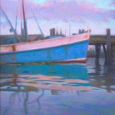 Blue Skies Morning Provincetown Fishing Boat Pastel Painting by Poucher, painting by artist Nancy Poucher Skier, Daily Painters, Urban Sketching, Artist Gallery, Blue Skies, Fishing Boats, Art For Sale, Original Paintings, Wallpaper