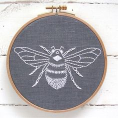 DIY embroidery KIT // bumblebee design // grey by iHeartStitchArt
