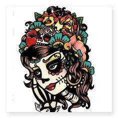 Day of the Dead Art Sugar Skull Print Beauty 8 x 10 from illustratedink on Etsy. Saved to Art. Hannya Tattoo, Catrina Tattoo, Tatto Old, Tatoo Art, Katrina Mexicana, Los Muertos Tattoo, Mermaid Skeleton, Dog Skeleton, Kunst Tattoos