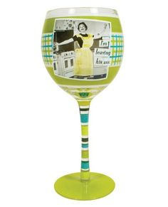 """Aprons and attitude i'm leaving his ass wine glass by MaleBasics Corp. $19.73. Hand painted wine glass with Decal. 8oz. 3 5/8"""" X 8"""". Comes in gift box. For Women with Attitude. Show a little attitude with the Aprons and Attitude I'm Leaving His Ass Wine Glass from Laid Back."""