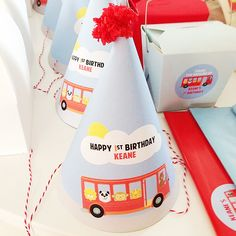 Wheels on the Bus Birthday Party hats!  See more party ideas at CatchMyParty.com!