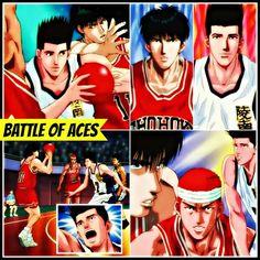 Battle of aces- Kaede Rukawa and Akira Sendoh have a all out point scoring match as patient Hanamichi looks for his chance to face Sendoh Slam Dunk Anime, Inoue Takehiko, Anime Rules, Basketball Players, Battle, Akira, Joker, Manga Anime, English