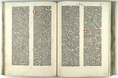 Inside of the Gutenberg Bible. You can see that he used two inks, black and red.
