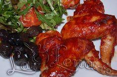 Aripioare cu miere si sos de rosii Oriental, Jacque Pepin, Tandoori Chicken, Chicken Wings, Grilling, Bbq, Goodies, Ethnic Recipes, Steaks