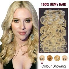 16 Inch 7pcs Body Wave Indian Clip In Remy Hair Extensions (#613 Bleach Blonde) 70g