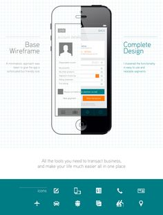 Effective communication of the difference between a wireframe and a design.  DNB.no Mobile App Re-design by Gerald Ssali, via Behance