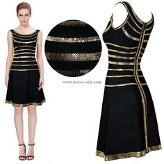 Herve Leger Black Golden Sequins Flared Bandage Dress HL733B