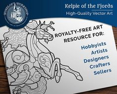 Kelpie Vector Art, Fantasy Clipart, Hippocampus, Royalty-Free (Personal, Non-Profit or Commercial Use)