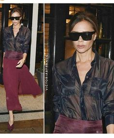 Victoria Beckham Outfits, David And Victoria Beckham, Victoria Beckham Style, Victoria Style, Girl Fashion, Fashion Show, Womens Fashion, Victoria Fashion, See Through Blouse