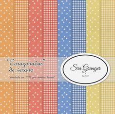 """Scraphouse. Papeles para scrapbooking """"Corazonadas de verano"""" diseñados por Marisa Bernal para Sra. Granger en 2014"""