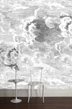 Fornasetti Nuvole Wallpaper :: Cole And Son Fornasetti Wallpaper, Accent Wallpaper, Cloud Wallpaper, Hallway Wallpaper, White Wallpaper, Interior Exterior, Interior Walls, Interior Design, Arquitetura