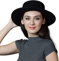 7032aff9329 Siggi Womens 100% Wool Felt Hat Winter Panama Fedora Pork Pie Hats Bow  Black at