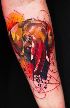 Love this elephant tattoo #InkedMagazine #elephant #geometric #tattoo #tattoos #Inked #Ink