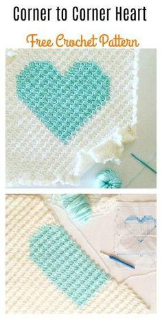 Corner to Corner Heart Blanket Free Crochet Pattern