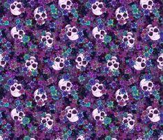 Flowers and Skulls fabric by elladorine on Spoonflower - custom fabric Badass Wallpaper Iphone, Skull Wallpaper, Pattern Wallpaper, Wallpaper Backgrounds, Skull Fabric, Skull Pictures, Skulls And Roses, Graffiti Alphabet, Skull Art